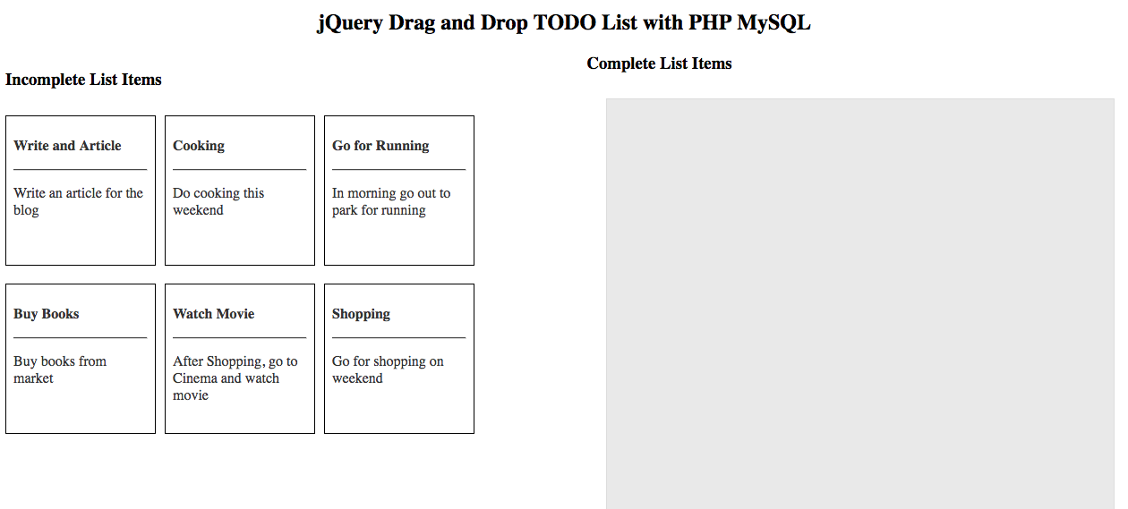 How to create a jQuery drag and drop todo list with php MySQL