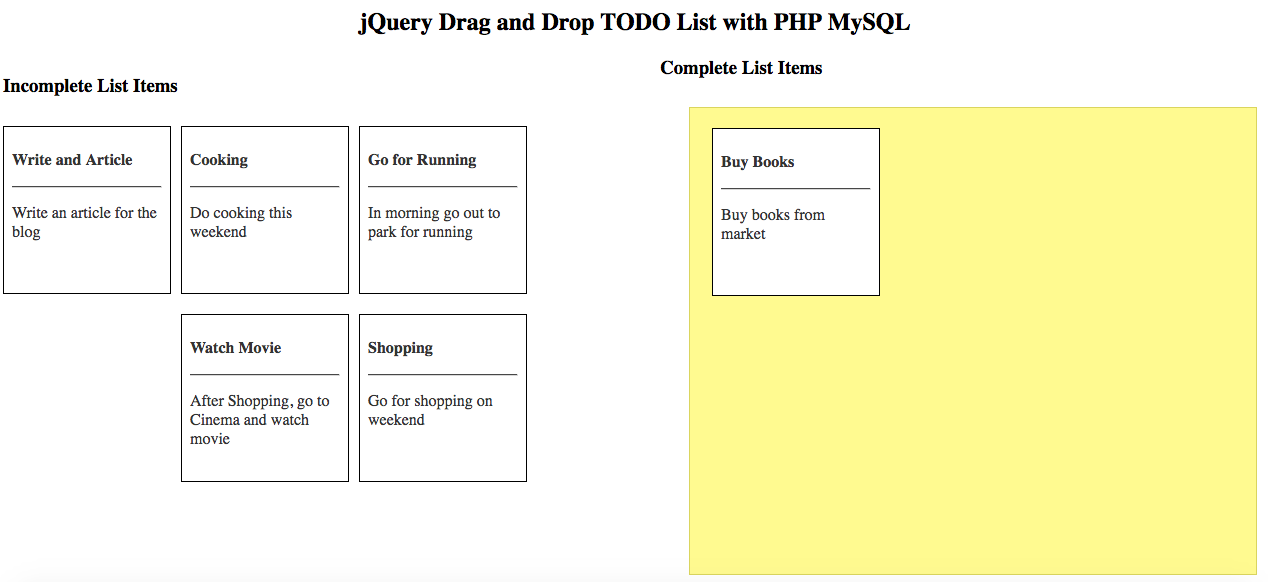 jQuery Drag and Drop todo list with PHP MySQL
