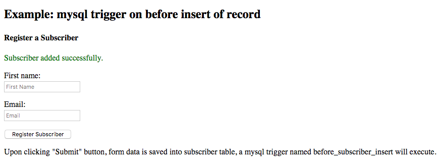 mysql trigger on before insert of a record