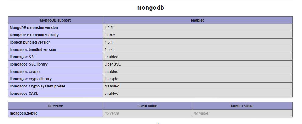php mongodb - php.ini enable mongodb