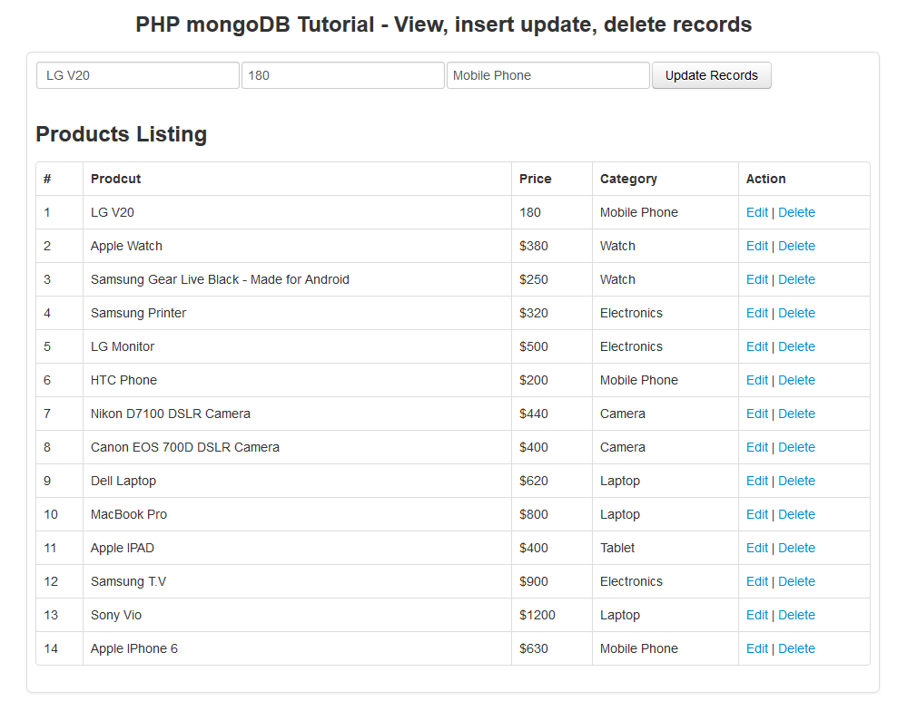 php mongodb tutorial - fetch sigle record using ajax