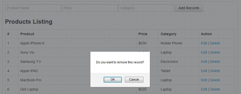 php mongodb tutorial - record delete confirmation
