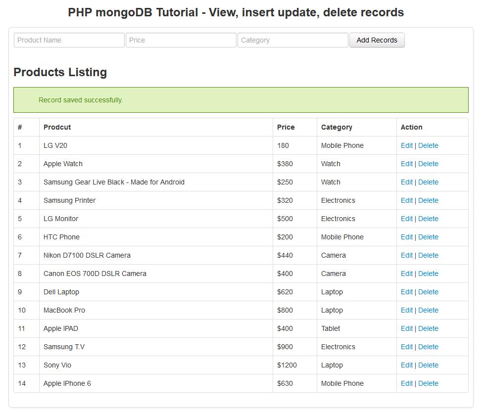 php mongodb tutorial - insert new reocrd