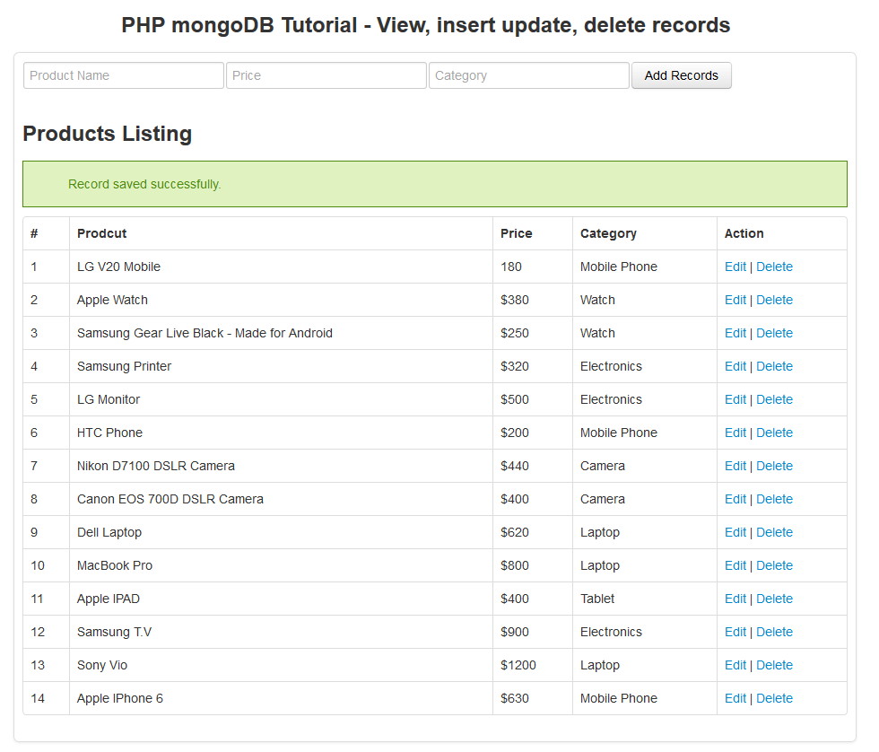 php mongodb tutorial - update records