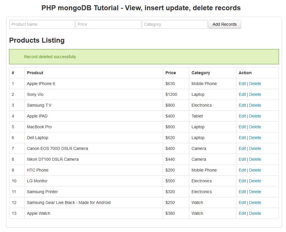php mongodb tutorial - delete record
