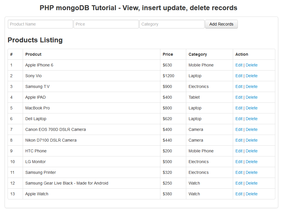 php mongodb tutorial - view records