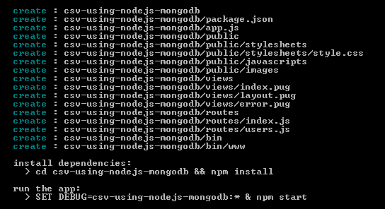 csv using nodejs mongodb - project generation