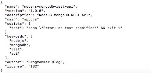 nodejs-mongodb rest api package json