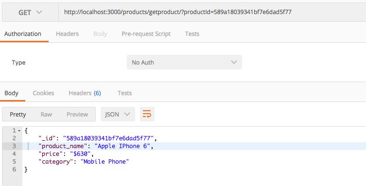 nodejs mongodb rest api select one product