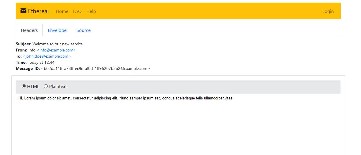 nodejs send email ethreal message