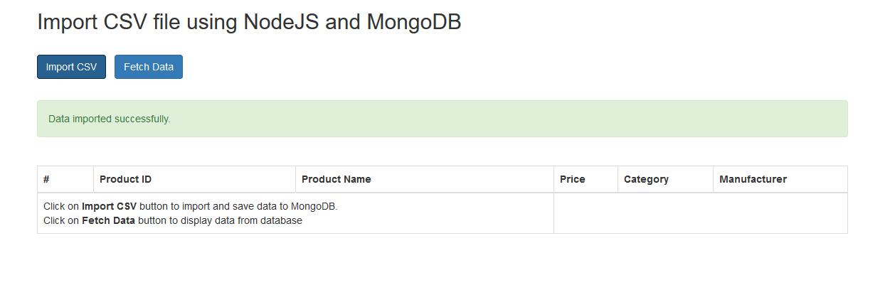 nodejs import csv mongodb success message
