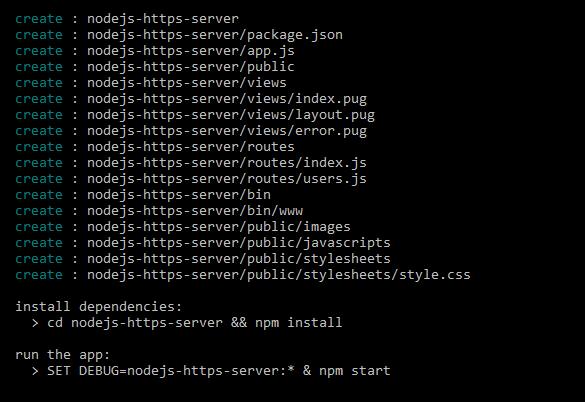 nodejs https server - generate express app