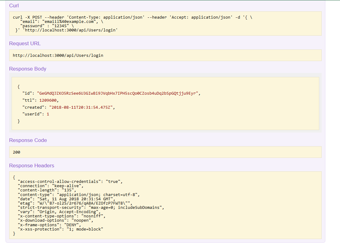 nodejs loopback restful api response toekn