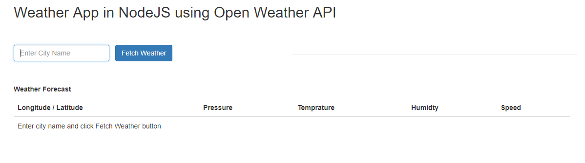 How to create a weather app in nodejs using Open Weather Map API