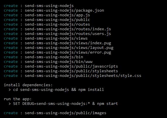 send sms using nodejs - generate project