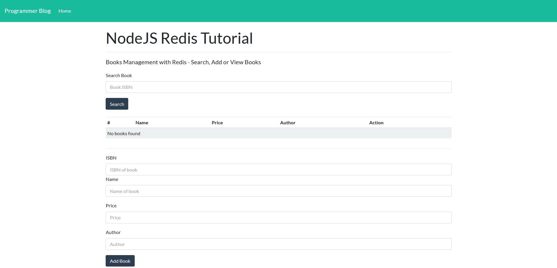 nodejs redis tutorial - complete form