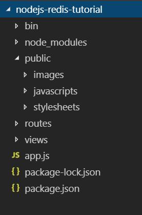 nodejs redis tutorial project structure