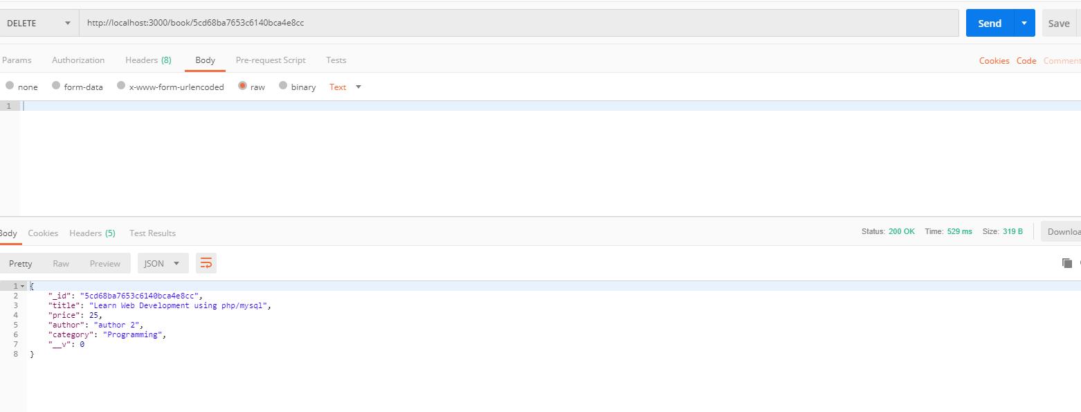 nodejs hapi framework tutorial - delete book