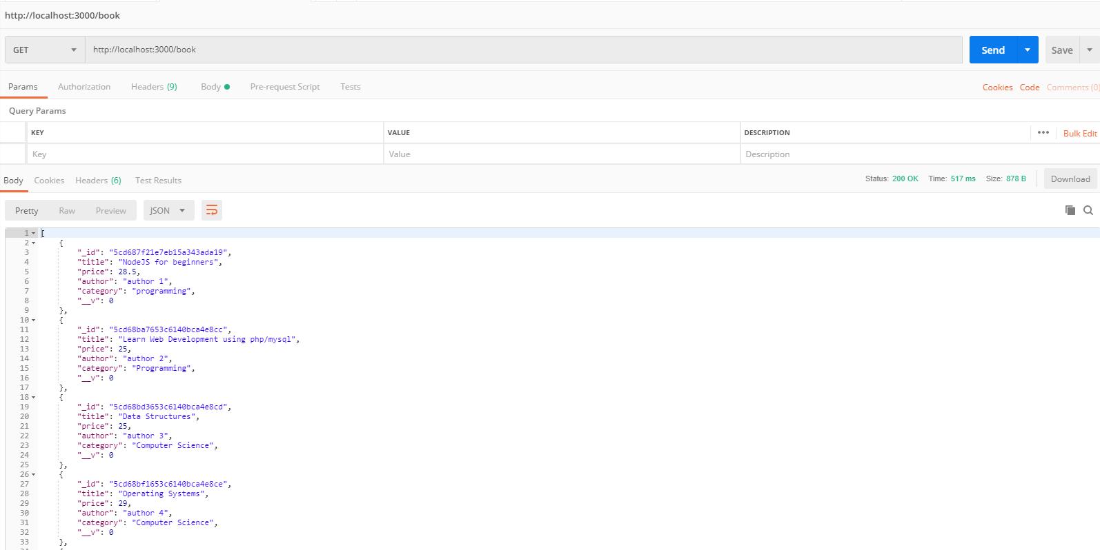 nodejs and hapi framework tutorial - fetch all books