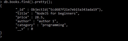 nodejs hapi framework tutorial -mongodb book added