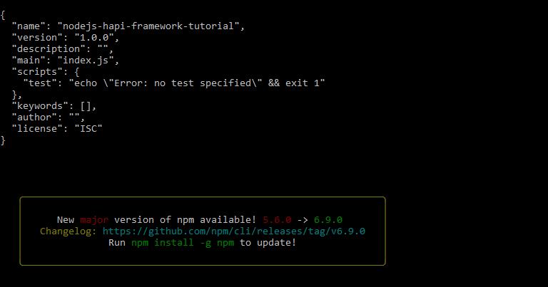 nodejs hapi framework tutorial - package.json