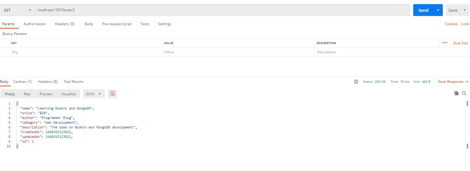 sails js API with postman - select single book data