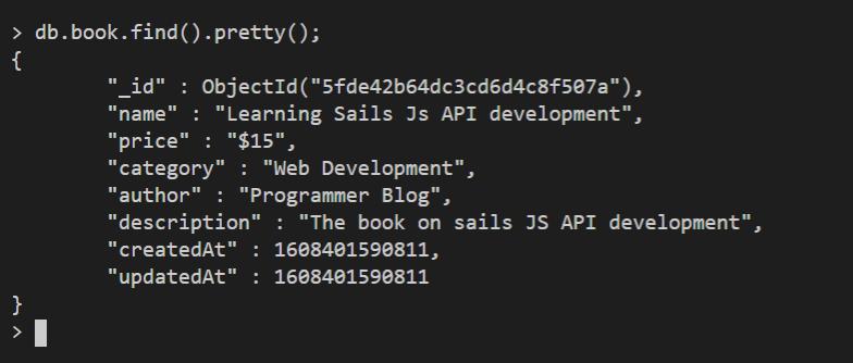 nodejs api create record view mongo db shell